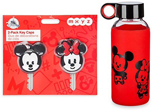Disney Mickey & Minnie Water Bottle 14 oz. MXYZ Collection Twist-off lid / reusable / finger hanging loop + Bonus Key Covers Character 2 Pack Caps