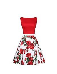 MARSEN Women's Two Piece Sleeveless Halter Midriff Dress