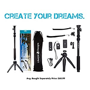 Premium HD RUGGED Selfie Stick Tripod 3-in-1 Kit + Bluetooth Remote – Universal: ANY iPhone, Android, GoPro or Camera – iPhone X 8 7 6 Plus, Samsung S8/S7 etc.   Best Gift Pack