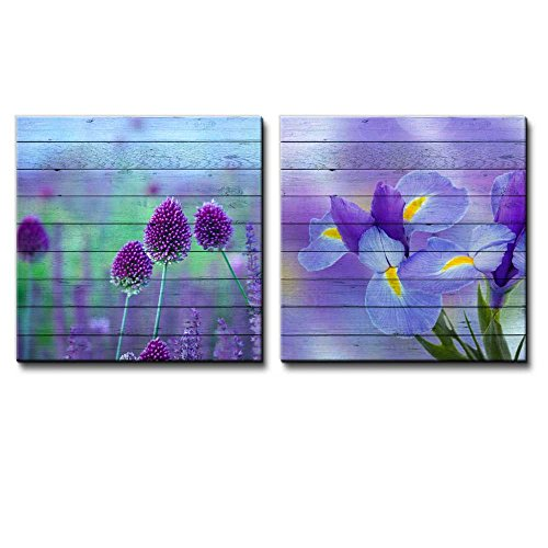Purple Allium Giganteum Flower Field Along with Purple Irises Over Blurry Watercolor Wooden Panels