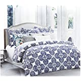 Envogue Home Stone Washed Flax Linen Duvet Quilt Cover Pure Genuine Linen Luxury 3pc Bedding Set Vintage Italian Damask Scroll Medallion Print Stonewashed Natural Taupe Grey (King, Navy Blue)