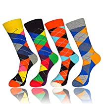 QUYP 4 Pairs Mens Patterned Colorful Design Funky Novel Comfortable Cotton Crew Exquisite Sport&Casual Socks