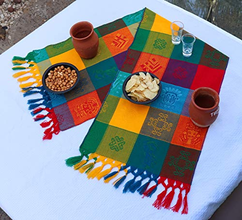 (Mexican Table Runner – Bohemian Table Runner – Boho Rainbow Aztec Runners – Serape Colourful Striped Cotton Runner for Mexican Fiesta Decorations and for Wedding Décor Green Blue Orange)