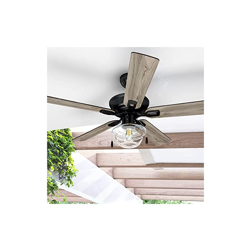 """Prominence Home 80091-01 Abner Indoor/Outdoor Ceiling Fan, 52"""" LED Schoolhouse Edison Bulb, Bronze"""