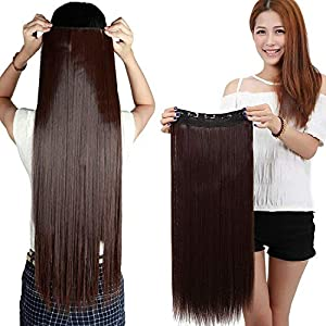 Focus Imported 24″/26″ Straight 3/4 Full Head One Piece 5 Clips in Hair Extensions (Dark Brown)