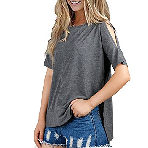 ICOCOPRO Women's Shoulder Tops Short Sleeve Cutouts Blouse Round Neck Loose Fit Lightweight Knit - Gray Tshirt- (Lightweight Nylon Pullover)