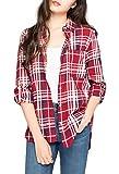 ouxiuli Women's Fashion Long Sleeve Check Print Cotton Casual Easy Plus Size Shirt Top Red XS