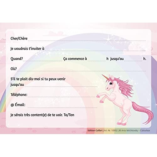 10 licorne invitations anniversaire fille lot de 10 cartes d