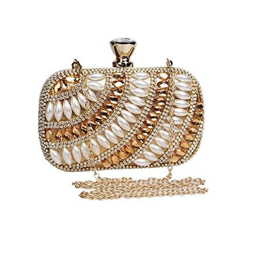 NAOMIIII Para Mujer De Diamantes De Perlas Fiesta Nupcial Baile De Fin De Curso Brillante Embrague Bolso Gold