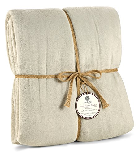 Genteele Luxurious Velvet Fleece Blanket Ultra Plush Soft Cozy Warm Bed Blanket, Full/Queen 90