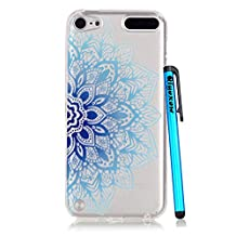 iPod Touch 5 Case Clear, iPod Touch 6 Case, Bright Slim Fit Transparent Soft Rubber TPU Gel Silicone Case Protective Cover Skin for Apple iPod Touch 5 6th Generation (Blue Flower)