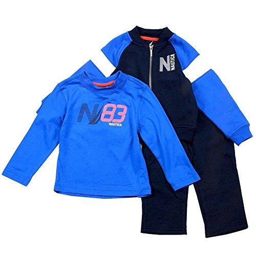 Nautica Baby Boys' 3 Piece Set Fleece Long Sleeve Tee Fleece Pant, Sport Navy, 12 Months