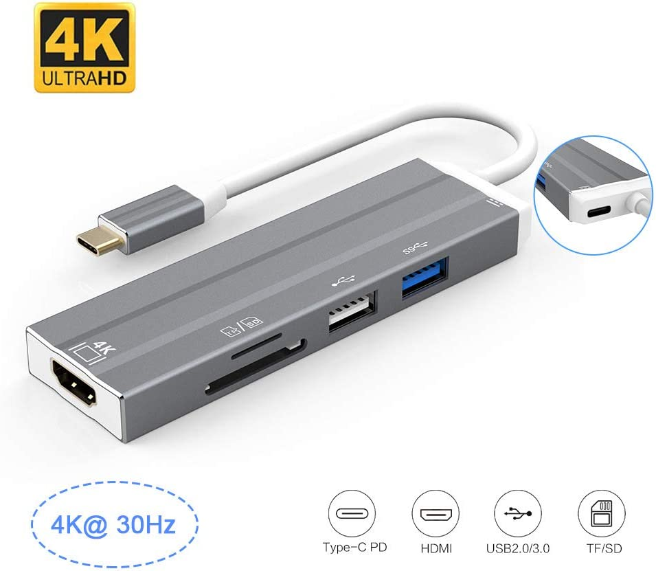 6-in-1 Type C Adapter with4K HDMI,USB 3.0 Port QLPP USB C Hub SD//TF Card Reader USB-C Power Delivery for Mac Pro and Other Type C Laptops 1 USB 2.0 Port