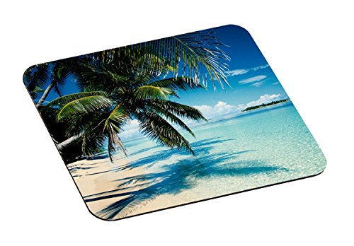 3M Precise Mouse Pad with Non-Skid Foam Back, Enhances the Precision of Optical Mice at Fast Speeds, 9x8, Fun Beach Design (MP114YL)