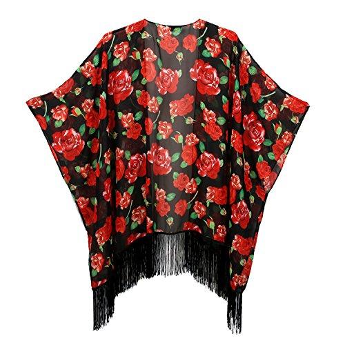 Women's Floral Kimono Cover Up - Lightweight Leopard Chiffon Beachwear for Bikini,Cardigan and Swimwear(One Size,Black&Rose)