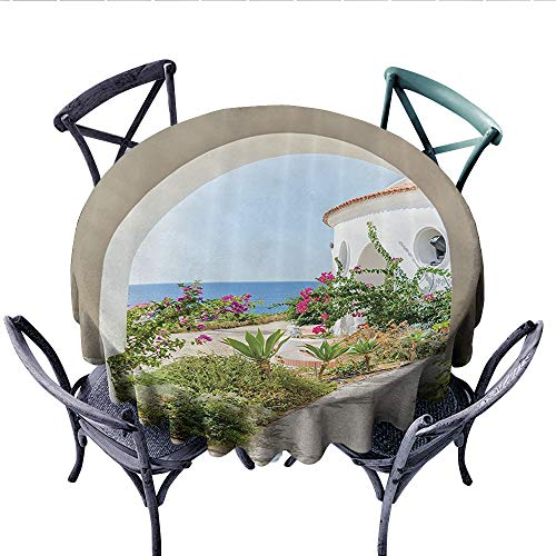 (Mediterranean Tuscan Island Decor Collection Dinning Tabletop DecorFlowers Garden Old Architectural Chic House Ancient Explorer Scenery Dust-Proof Round Tablecloth (Round, 70 Inch,))