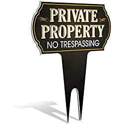 "Metal Yard Sign Private Property No Trespassing Sign | Protect Your Home | Safety & Privacy Warning Sign 15"" High x 12"" Wide (Non-Reflective)"