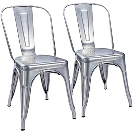 Furmax Metal Dining Chair Tolix Style Indoor Outdoor Use Stackable Chic Dining Bistro Cafe Side Metal Chairs Silver 2 Pack