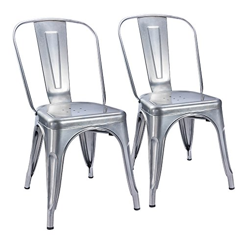 2 Side Metal (Furmax Metal Dining Chair Tolix Style Indoor-Outdoor Use Stackable Chic Dining Bistro Cafe Side Metal Chairs Silver (2 pack))