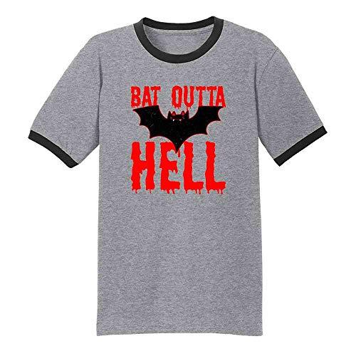 Pop Threads Bat Outta Hell Horror Halloween Grey/Black 4XL Ringer T-Shirt]()