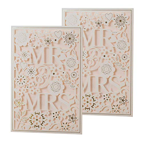 50PCS Paper Laser Cut Bronzing Wedding Baby Shower Invitation Cards with Flower Hollow Favors Invitation Cardstock for Engagement Birthday Graduation (MR AND -