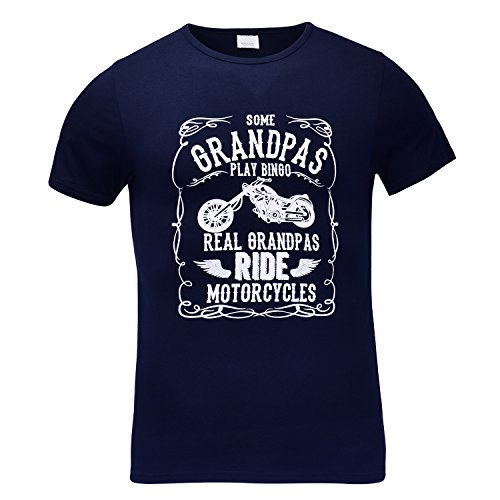 Ride T-shirt Motorcycle (Some Grandpas Play Bingo, Real Grandpas Ride Motorcycles T Shirt (M, Blue))