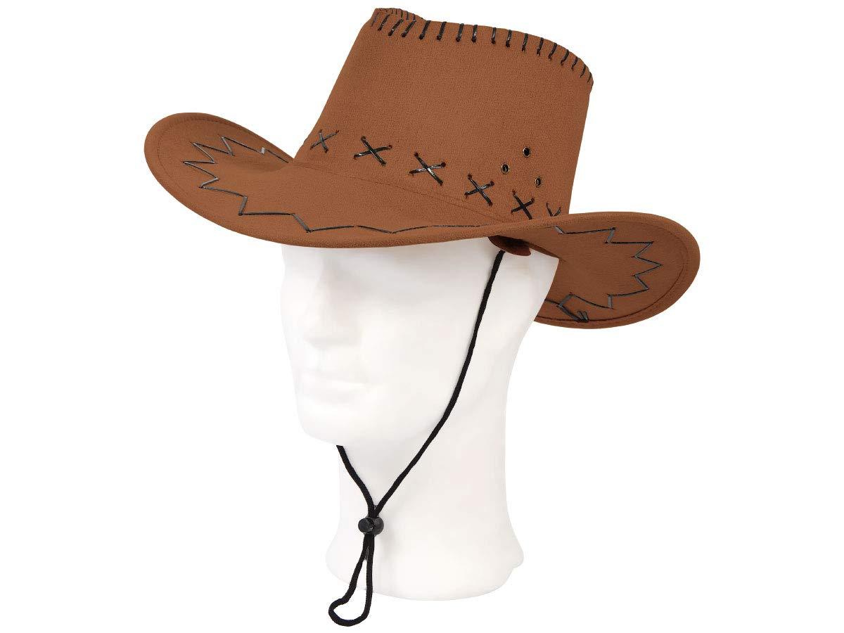 Chapeau de cowboy Wild West Western country mexicain marron taille unique pour adulte en feutre de qualit/é sup/érieure lux tr/ès classe laccessoire festif id/éal pour f/ête th/é/âtre festival CW-04
