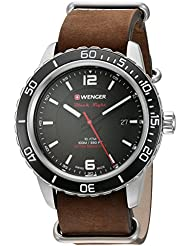 Wenger Roadster Black Night Watch with Leather Strap