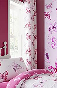 "WATERCOLOUR-STYLE BUTTERFLIES PINK WHITE COTTON BLEND 66"" X 72"" - 168CM X 183CM RING TOP CURTAINS DRAPES"