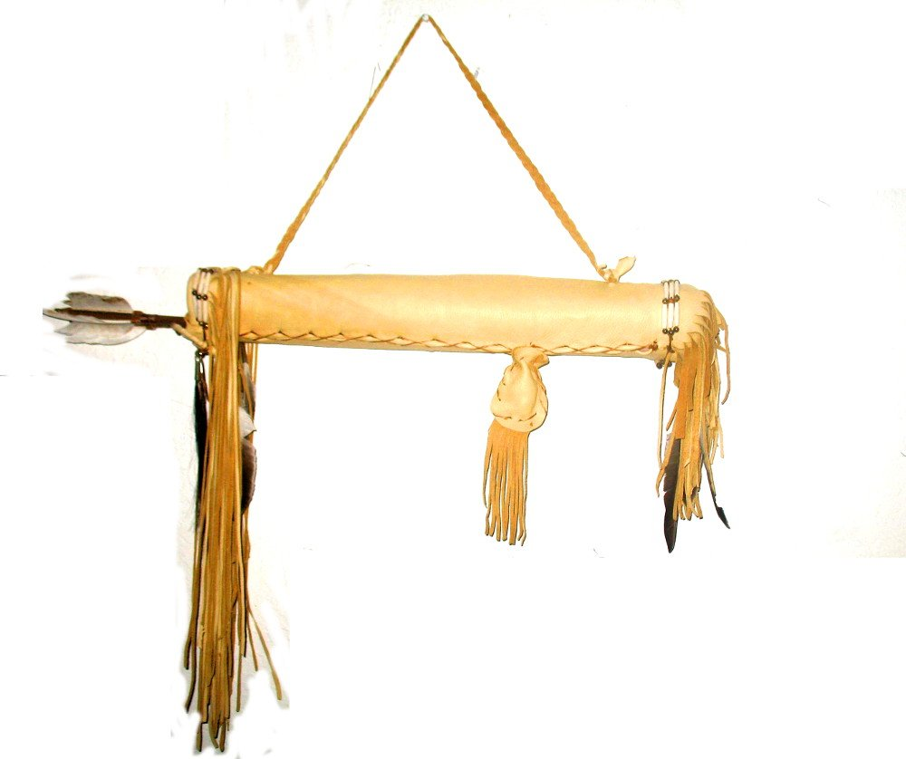 Hand Crafted Quiver with Arrows Native American Decorated with Buffalo Hair Pipes Medicine Bags Fringes