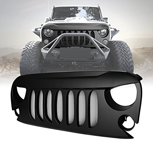 DIYTUNINGS Front Matte Black Beast Grille with mesh insert for Jeep Wrangler JK JKU Unlimited Rubicon Sahara X Off Road Sport Exterior Accessories Parts 2007-2017