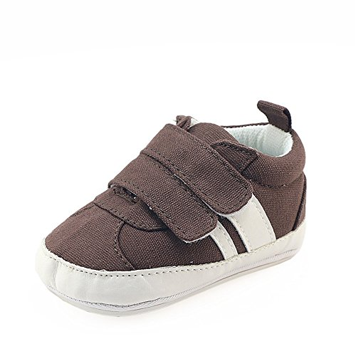 Isbasic Canvas Sneakers Shoes for Baby Boys Girls Toddler Non-Slip Rubber Sole Casual Infant Trainer (0-6 Months, Brown) by Isbasic (Image #1)