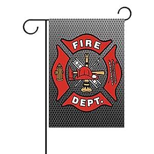 "PersonalizedShop Seasonal Garden Flag, Firefighter Fire Department DEPT. FD Fire Emblem 12"" x 18"" Double Sided Weatherproof Polyester Outdoor Home Flag(Not 3D)"