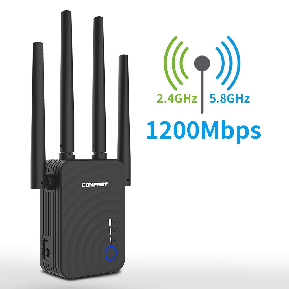 [Upgrade Version] WiFi Range Extender with WPS Internet Signal Booster - Wireless Repeater 2.4GHz Band up to 300Mbps, 5.8GHz Band up to 867Mbps - Extending WiFi to Whole Home