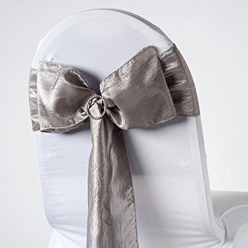 BalsaCircle 10 Silver Taffeta Crinkle Chair Sashes Bows Ties - Wedding Party Ceremony Reception Decorations Supplies Wholesale ()