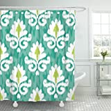 VaryHome Shower Curtain Yellow Flower Ikat Damask Pattern Indonesia Waterproof Polyester Fabric 60 x 72 Inches Set with Hooks