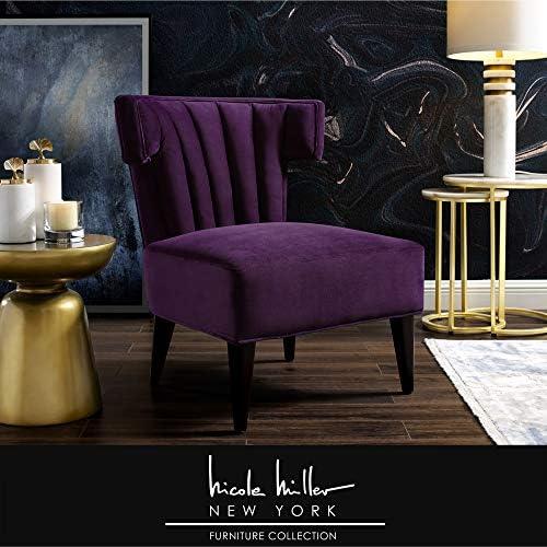 Nicole Miller Elmer Accent Chair – Velvet Upholstered Channel Tufted Back Tapered Legs Glam Style Purple