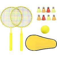 Toyvian Juego de Bádminton para Niños de 12 Piezas Raquetas de Bádminton para Niños Pelota de Tenis Deportiva con Bolsa de Almacenamiento para El Desarrollo Deportivo Temprano