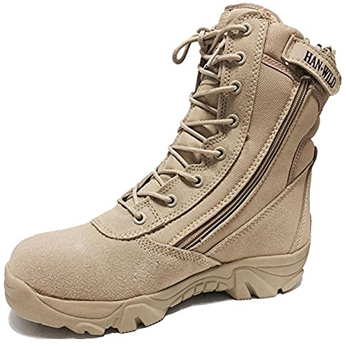 BE DREAMER Men's Tactical Military Combat Boots Side Zipper Army Outdoor Hiking High Top Shoes (12, Tan)