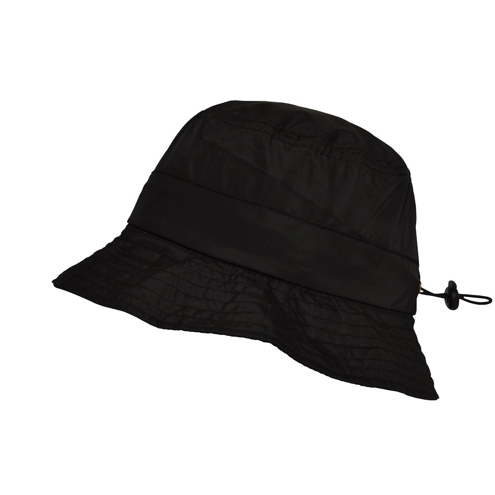 TOUTACOO, Adjustable Waterproof Bucket Rain Hat in Nylon, Easy to fold .Black