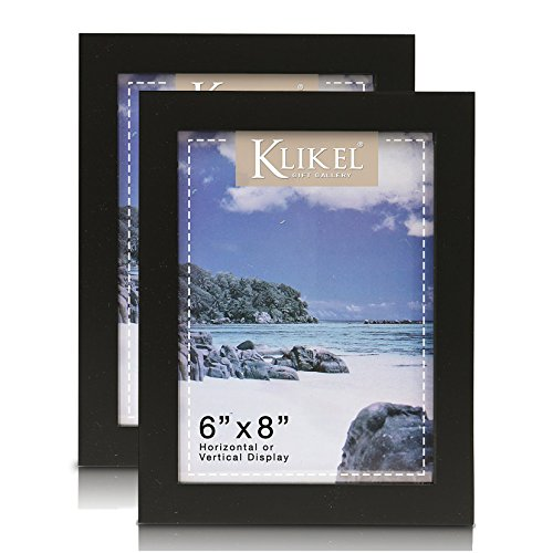 Klikel Black Picture Frame | Set of 2 6x8 Black Wooden Photo Frame | for Family Graduation Grandpa Picture Frames | Wall Hanging and Table Standing