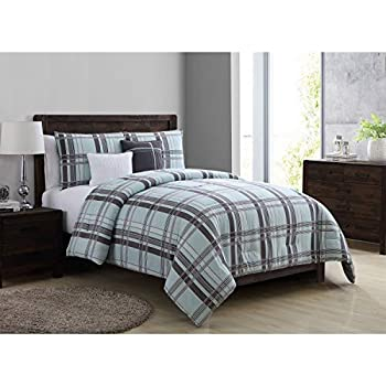 Amazon Com Vcny Home Maxwell Plaid 4 Piece Bedding