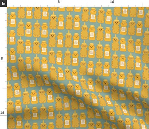 Spoonflower Honey Bear Fabric - Kitsche Modern Honey Bear Honey Bear Honey Bear Nature Animals Organic Kni by Heidikenney Printed on Linen Cotton Canvas Ultra Fabric by The Yard