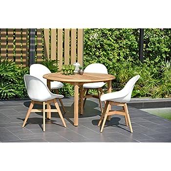 Amazon Com Brampton 5 Piece Outdoor Teak Round Dining Set