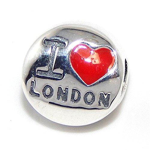 Pro Jewelry 925 Solid Sterling Silver 'I 'Heart' London' Charm Bead (Pandora International Charms)