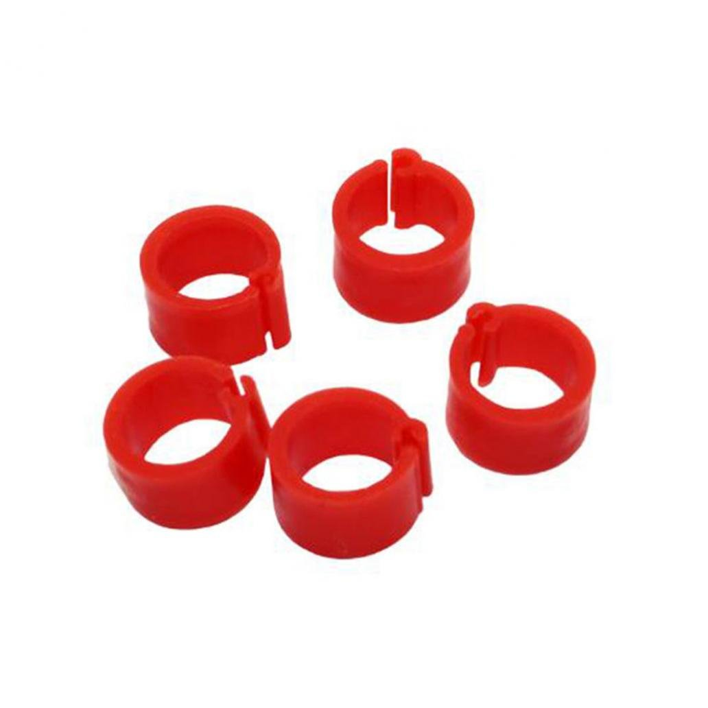 (Red) 100Pcs Identification Pigeons Parred Bird Opening Foot Rings Bird Supplies 8mm