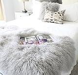 Genuine Grey Tibetan Mongolian Sheepskin Fur Hide pelt plate bed throw 35x65'' upholstery panel