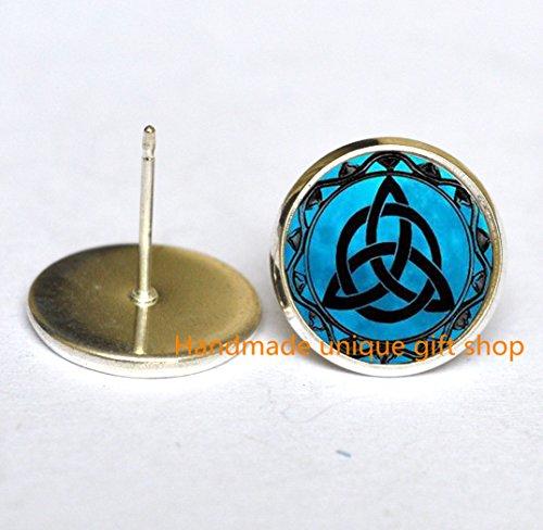 (Dainty Earrings, Delicate Earrings,Blue Moon Celtic Triquetra Jewelry Earrings , Silver Plated Photo Earrings Charm-RC046)