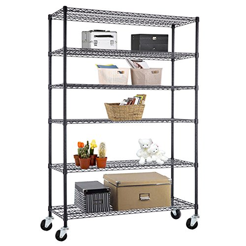 SUNCOO Wire Shelving Unit Storage Rack Metal Kitchen Metro Shelf Stainless Steel Heavy Duty Adjustable Shelves Black-6 tier-82 '' (Heavy Duty Steel Bookcase)