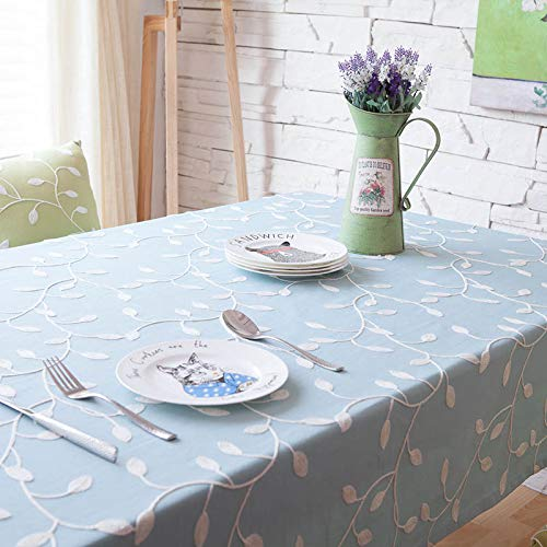 RubyShopUU Hot Pastoral Style Cotton Table Cloth Green Blue Rectangular Embroidered Tablecloth for Wedding Party Hotel Home Decoration